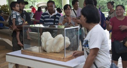 An undated handout picture made available by the Puerto Princesa City-Public Information Office on 24 August 2016 shows Filipino villagers viewing a giant pearl on display at the Puerto Princesa City Hall. (EPA Photo)