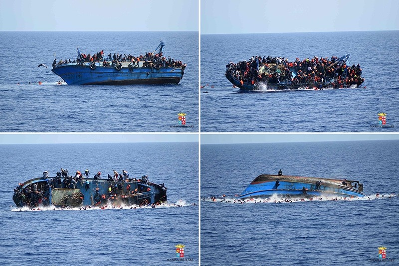 This combination of handout pictures released on May 25, 2016 by the Italian Navy (Marina Militare) shows the shipwreck of an overcrowded boat of migrants off the Libyan coast today. (AFP Photo)