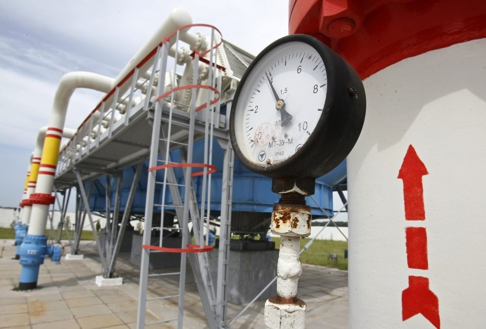 A pressure gauge is seen at an underground gas storage facility.