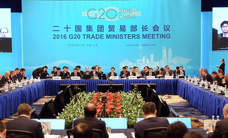 Trade ministers and delegates attend the opening session of the G20 Trade Ministers Meeting in Shanghai Saturday, July 9, 2016 (AP Photo)