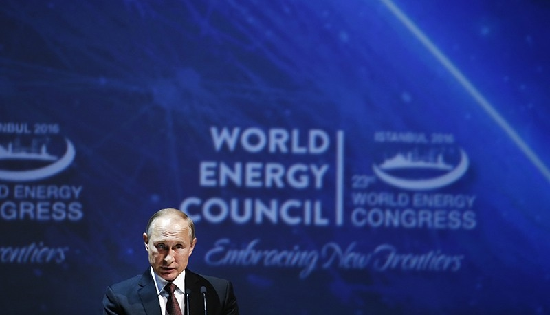 Russian President Vladimir Putin delivers a speech at the World Energy Congress, in Istanbul, Monday, Oct. 10, 2016 (AP Photo)