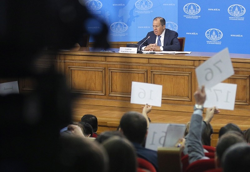 Russian Foreign Minister Sergei Lavrov speaks during his news conference in Moscow, Russia on Jan. 17, 2017. Lavrov gave his annual press conference where he talked about the Russian diplomacy and foreign policy in 2016. (EPA Photo)