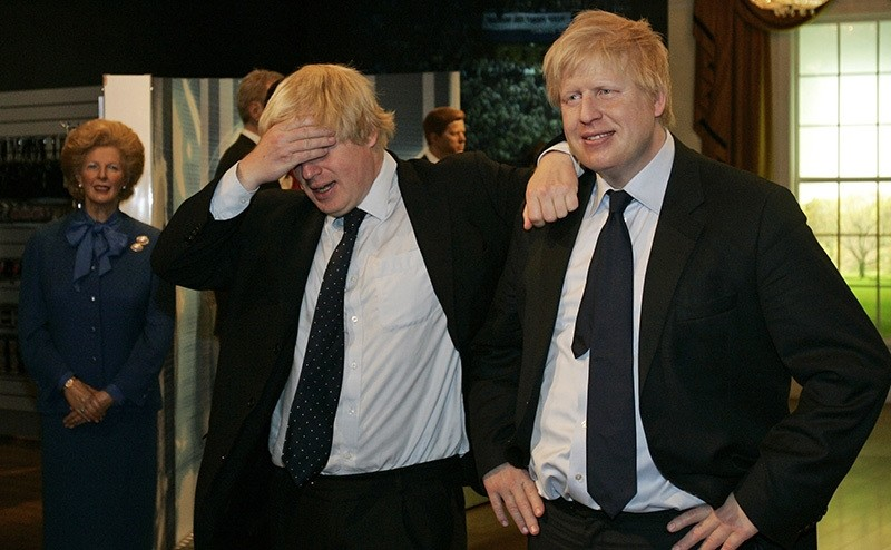 In this Tuesday, May 5, 2009 file photo, Mayor of London Boris Johnson, left, poses with a wax figure of himself at Madam Tussauds wax museum in London (AP Photo)