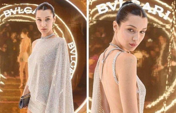 Bulgari'nin gecesine katılan Bella Hadid, mücevherden kıyafetiyle uyumlu 81 karatlık kolyesiyle geceye damga vurdu.