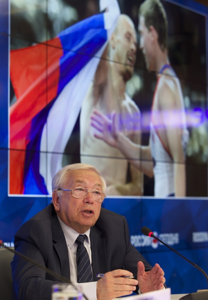 President of the Russian Paralympic Committee Vladimir Lukin listens to a question during a news conference in Moscow, Tuesday.