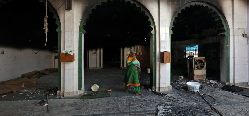 MOSQUE SET ON FIRE DURING DEADLY VIOLENCE IN INDIAN CAPITAL NEW DELHI
