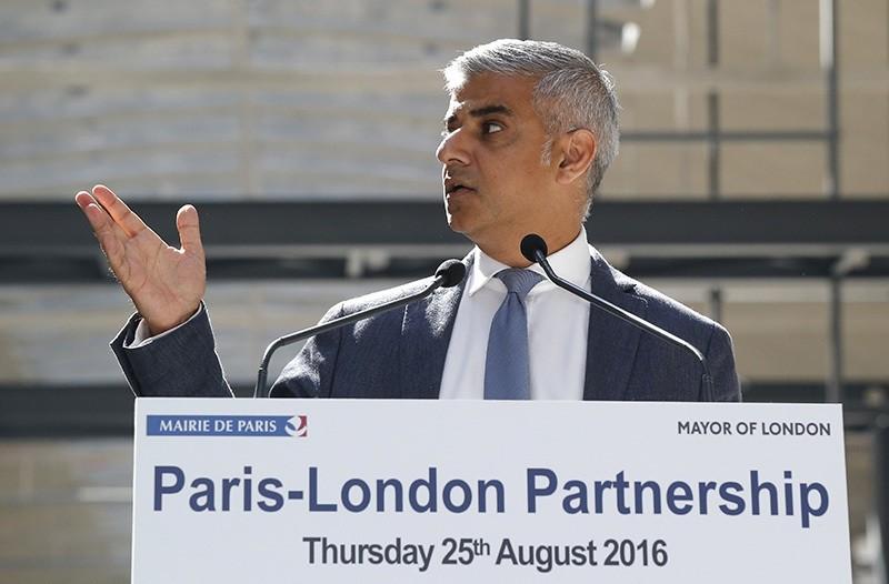 London mayor Sadiq Khan speaks at the Halle Freyssinet, a future digital business incubator, in Paris, Thursday, Aug. 25 2016 (AP Photo)