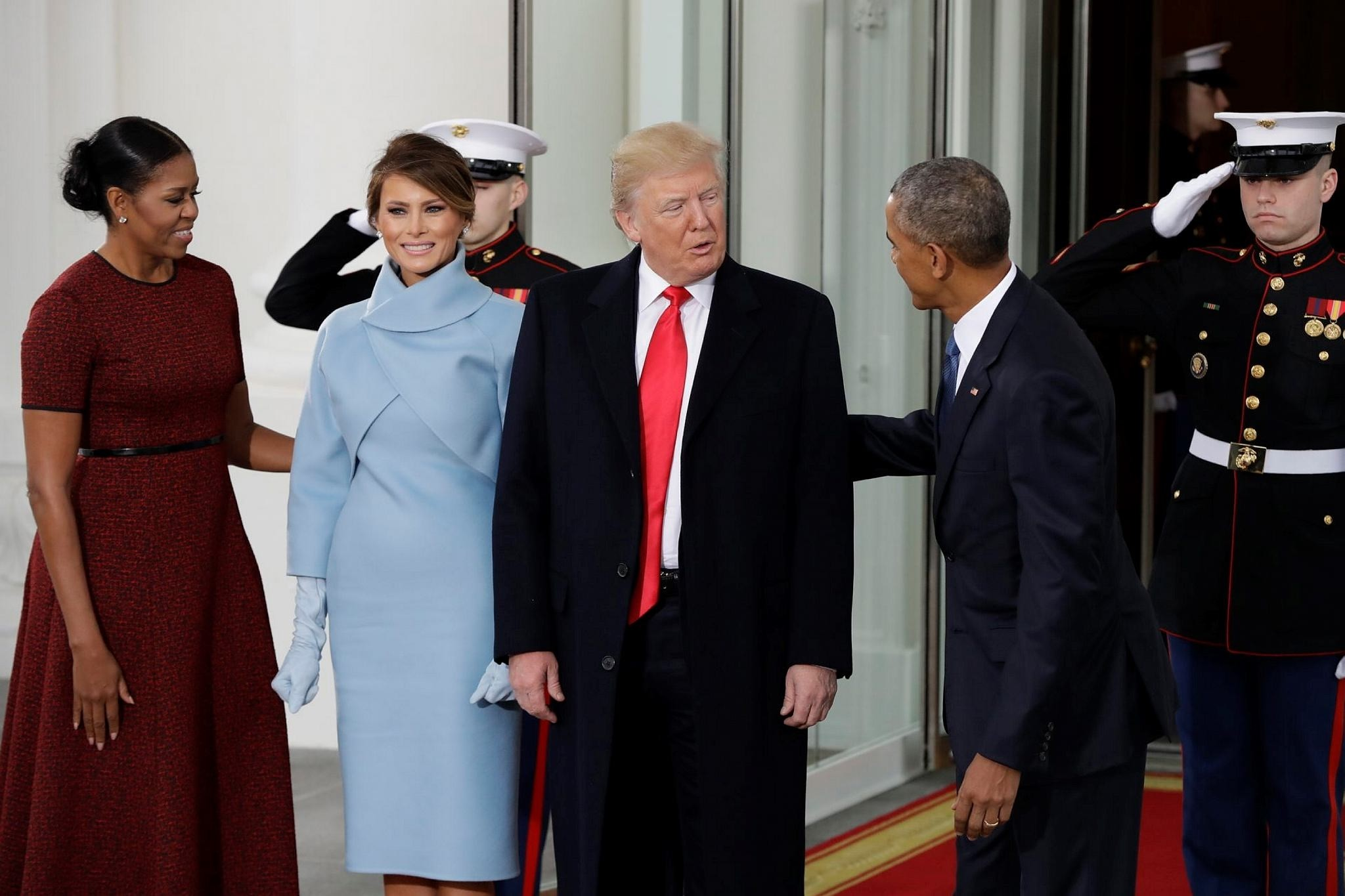President Barack Obama and first lady Michelle Obama greet President-elect Donald Trump and his wife Melania at the White House in Washington, Friday, Jan. 20, 2017. (AP Photo)