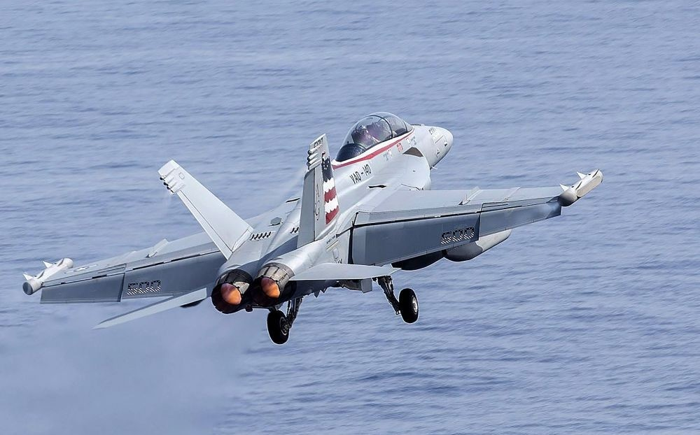 This handout photo, released by the US Navy on June 16, shows a Boeing EA-18G Growler electronic warfare aircraft taking off from the USS John Stennis aircraft carrier at sea in the Indo-Asia-Pacific region.
