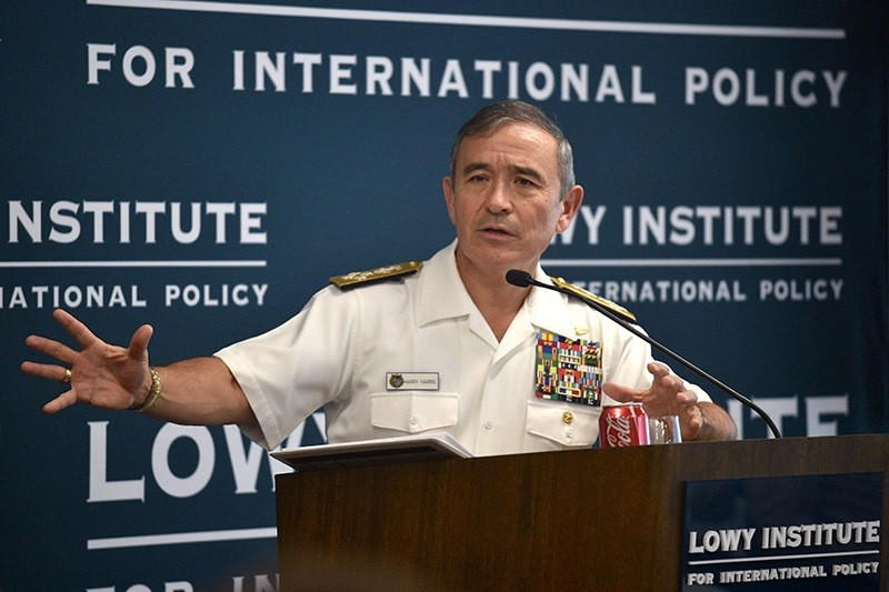Harry Harris, head of the US Pacific Command, addresses the Lowy Institute in Sydney on Dec. 14, 2016. (AFP Photo)