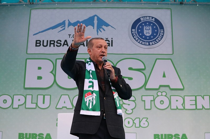 Erdou011fan speaking at an inauguration ceremony for an education facility in the northwestern province of Bursa. (AA Photo)
