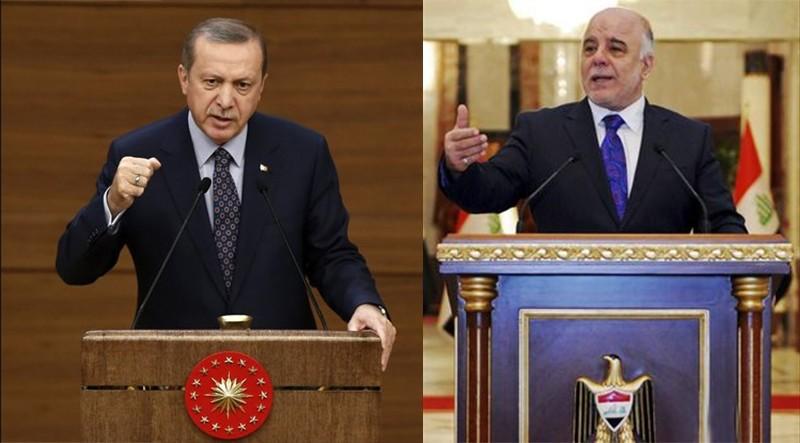 President Erdou011fan (L) and Iraqi PM Abadi