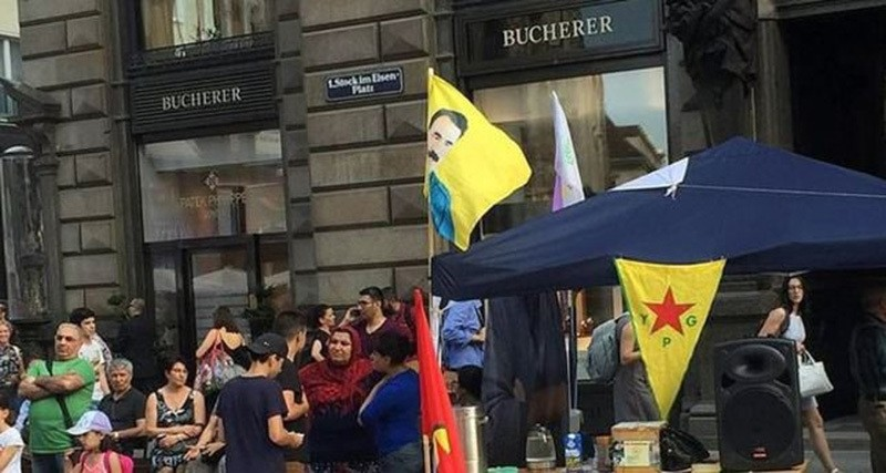 A tent was set up by supporters of the PKK terrorist group in the Auistrian capital of Vienna on June 23 2016.