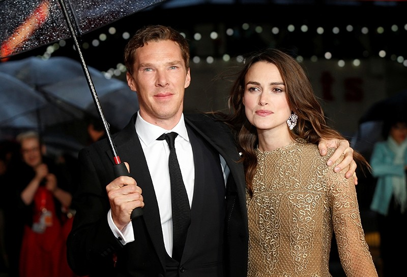 Actors Benedict Cumberbatch and Keira Knightley pose as they arrive for the European premiere of the film ,The Imitation Game,. (REUTERS Photo)