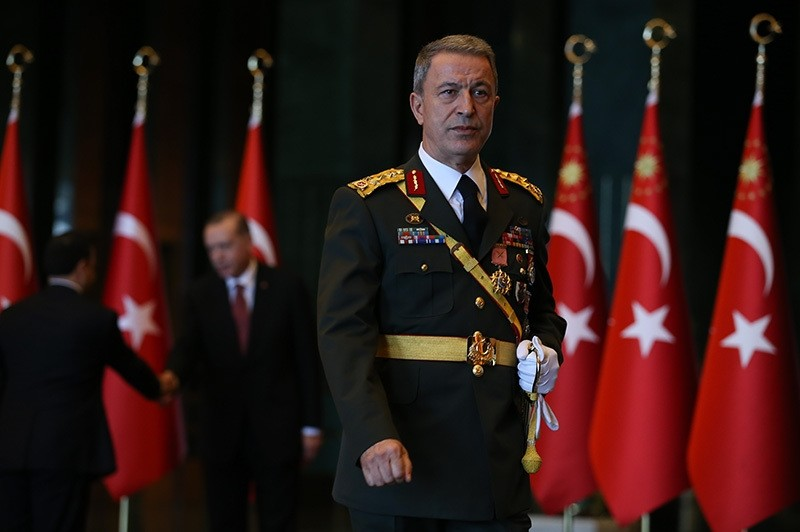Turkish Chief of Staff Hulusi Akar is seen at the Beu015ftepe Presidential Complex in Ankara during Oct. 29 reception held by President Erdou011fan. (AA Photo)