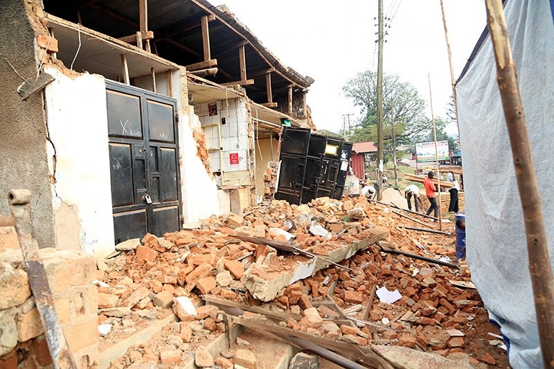This photo taken on September 10, 2016 in Bukoba region in northwest Tanzania, shows houses damaged following an earthquake measured 5.7 magnitude which struck the countryu2019s Lake Zone. (AFP Photo)