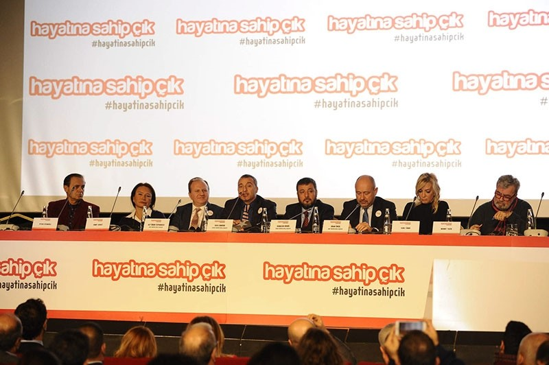Turkish celebrities attend a press conference promoting the ,Embrace your life, campaign, 13 January 2016. (File Photo)