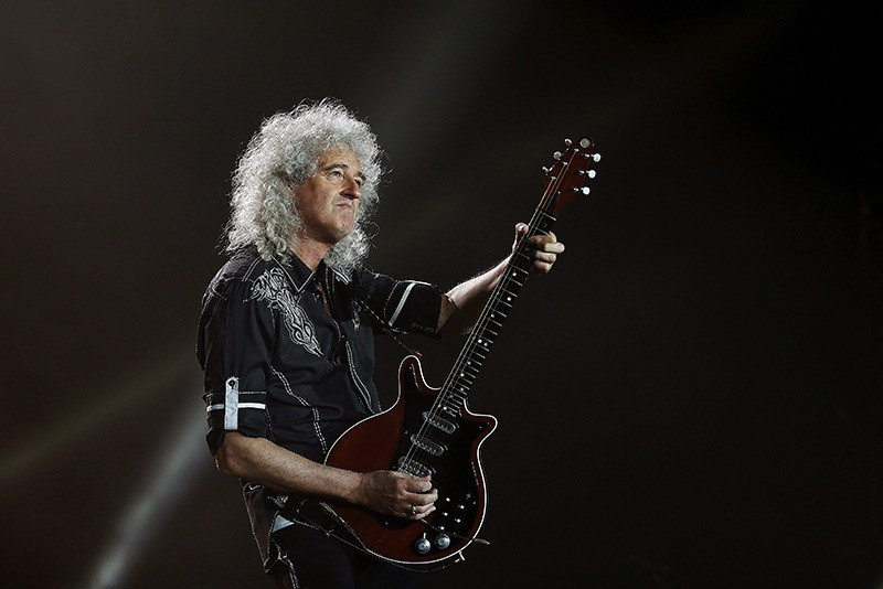 British rock band Queen's guitarist Brian May performs on stage during their concert at Palau Sant Jordi in Barcelona, Spain, May 22, 2016. (EPA Photo)