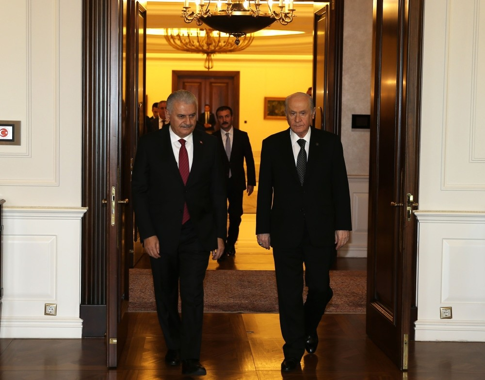 Prime Minister Binali Yu0131ldu0131ru0131m (L) and opposition Nationalist Movement Party (MHP) leader Devlet Bahu00e7eli came together on Thursday in Ankara.