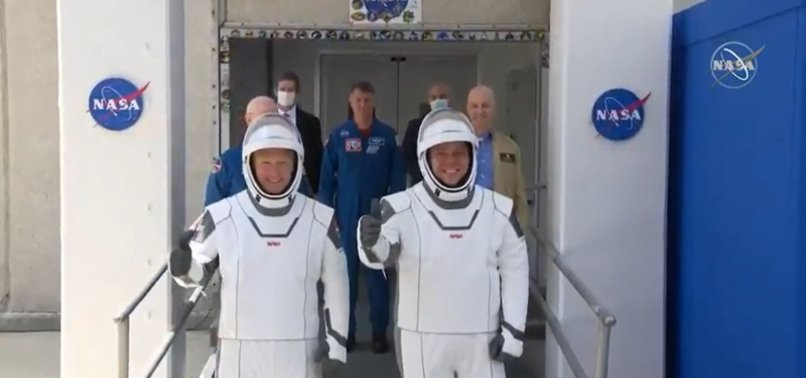 2 ASTRONAUTS SUIT UP FOR HISTORIC LAUNCH OF SPACEX ROCKET