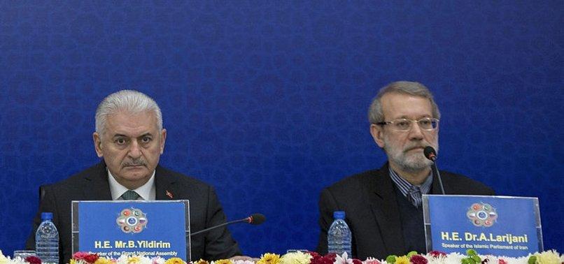 TURKISH, IRANIAN PARLIAMENT SPEAKERS MEET IN TEHRAN