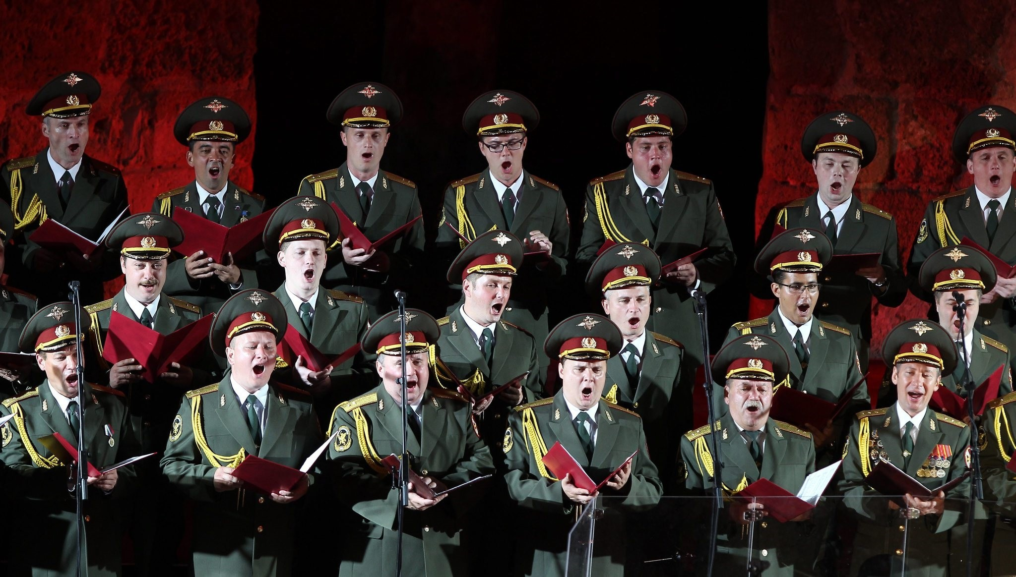 A file picture dated 12 July 2013 shows members of the Russian Red Army Choir performing at the Roman theater of Carthage during the International Festival of Carthage in Tunis. (EPA Photo)