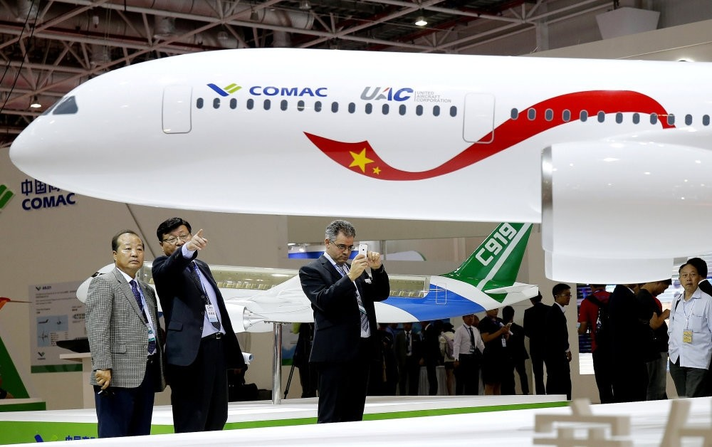 A model of a widebody jet, which is planned to be developed by Commercial Aircraft Corporation of China and Russia's United Aircraft Corporation is presented at an air show, the China International Aviation and Aerospace Exhibition.