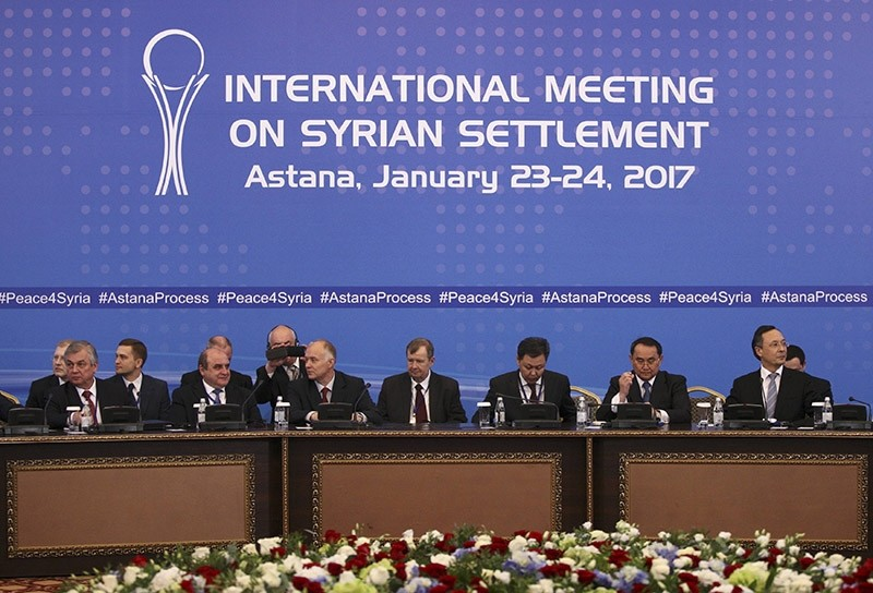 Participants of Syria peace talks attends a meeting in Astana, Kazakhstan on Jan. 23, 2017. (Reuters Photo)