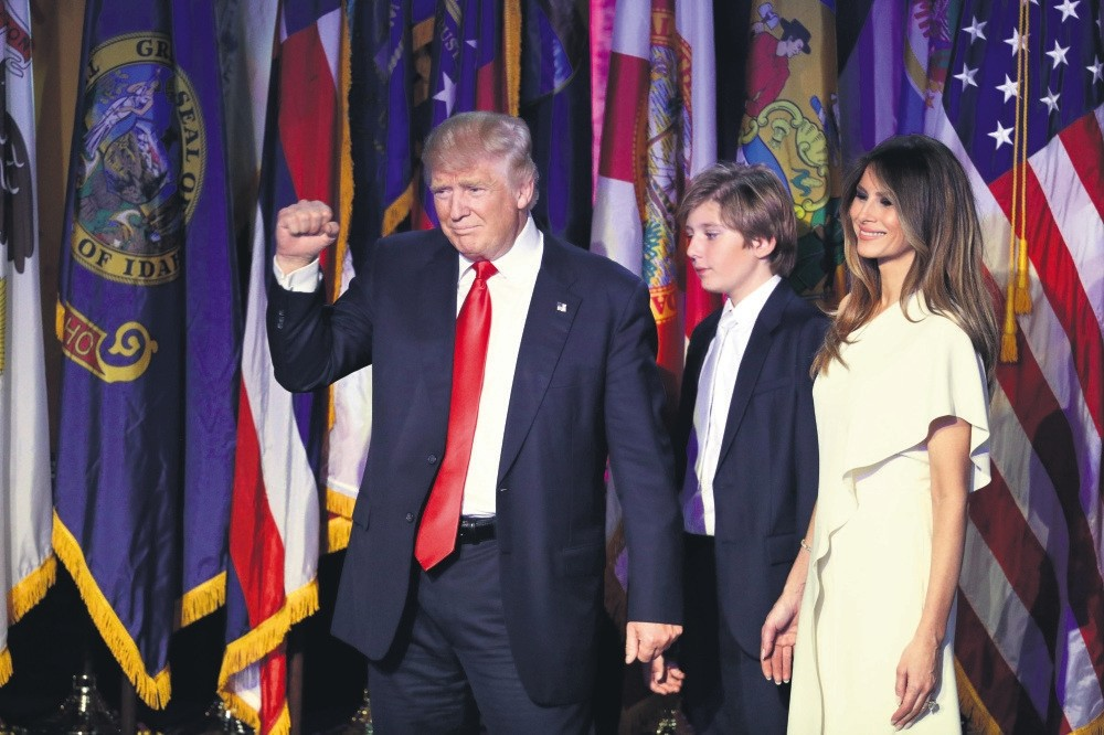 President-elect Donald Trump at his acceptance speech with his wife Melania Trump, right, and their son Barron Trump.