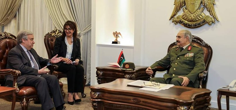 UN CHIEF GUTERRES HOLDS TALKS WITH LIBYAN MILITARY COMMANDER HAFTAR