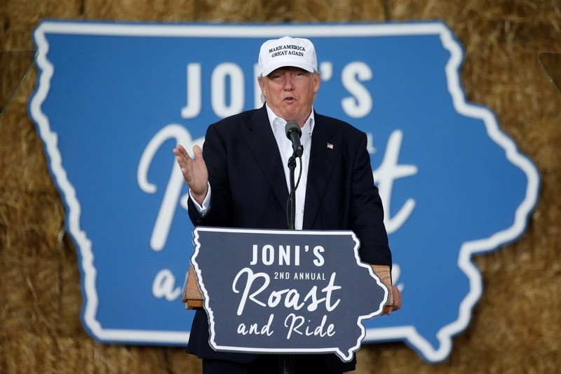 Republican nominee Donald Trump speaks at ,Joni's Roast and Ride, in Des Moines, Iowa, U.S., August 27, 2016.  REUTERS Photo