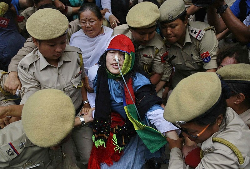 Activist Irom Sharmila is taken back to a hospital after a court appearance in Imphal, in the north-eastern state of Manipur, India, Tuesday, Aug. 9, 2016. (AP Photo)