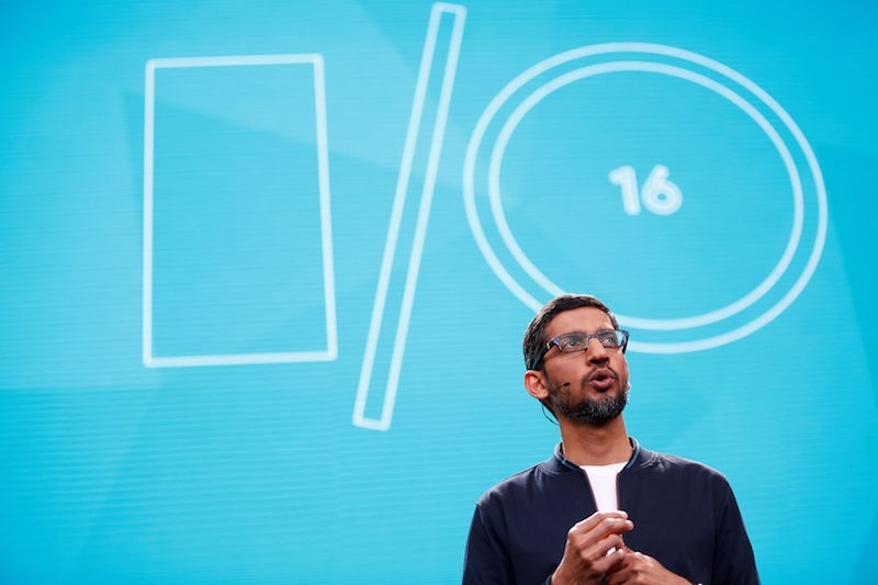 Google CEO Sundar Pichai delivers his keynote address during the Google I/O 2016 developers conference in Mountain View, California. (Reuters Photo)