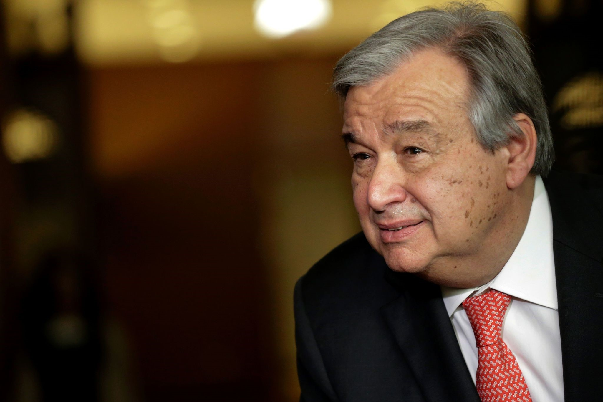 This file photo taken on April 12, 2016 shows Antonio Guterres speaking to reporters on the selection of the next UN Secretary-General at the UN headquarters in New York. (AFP Photo)