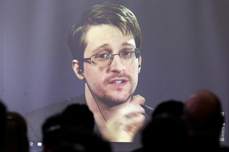 Edward Snowden speaks via video link during a conference at University of Buenos Aires Law School, Argentina on Nov. 14, 2016. (Reuters file photo)