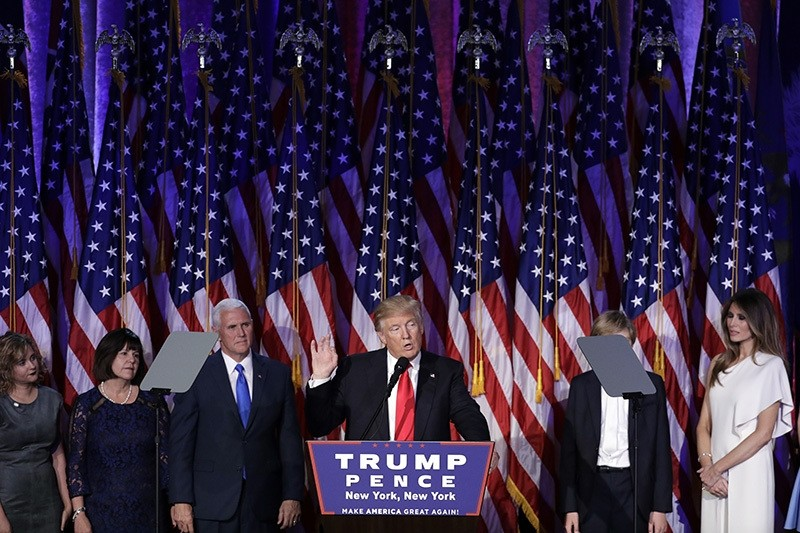 President-elect Donald Trump gives his acceptance speech during his election night rally, Wednesday, Nov. 9, 2016, in New York. (AP Photo)