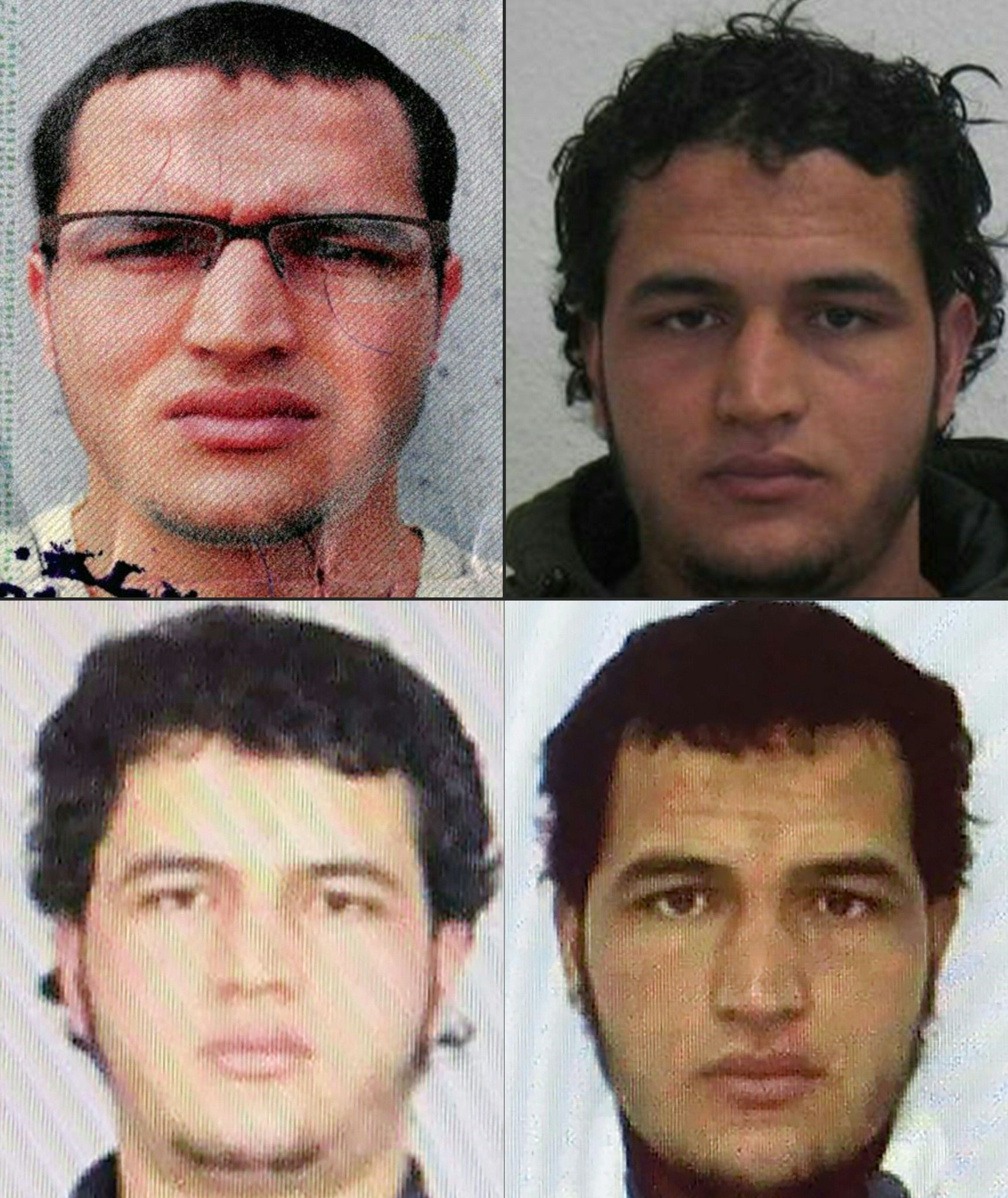 This combination of pictures created shows handout portraits showing two pictures of Tunisian man identified as Anis Amri.