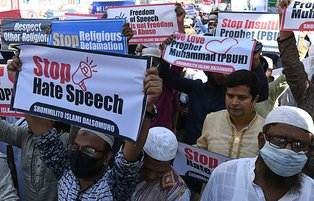 Thousands of Bangladeshi protesters take to Dhaka streets after Friday prayers to call for boycott of French goods