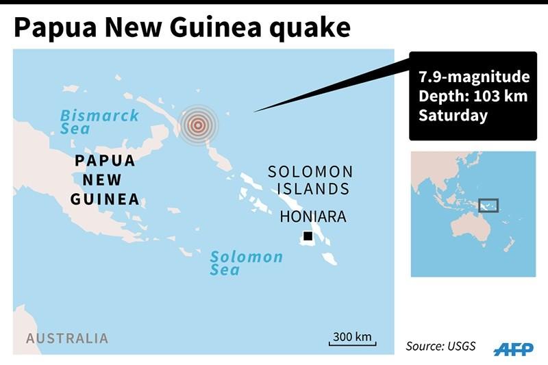 Map locating the quake off Papua New Guinea Saturday (AFP Photo)