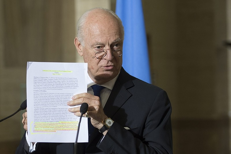 UN Special Envoy of the Secretary-General for Syria Staffan de Mistura speaks about the International Syria Support Group's Humanitarian Access Task Force. (EPA Photo)