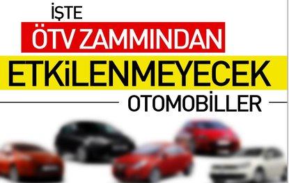 ÖTV zammından etkilenmeyecek otomobiller