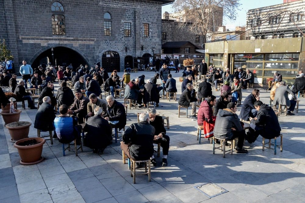 People sit at an outdoor tea house near Ulu Mosque in Diyarbaku0131r's historic Sur district on Jan. 11.