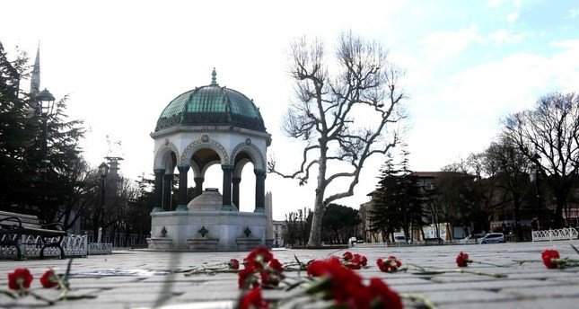 Carnations are left at the site of January 12, 2016 suicide attacks by Daesh in the historic Sultanahmet Square in Istanbul