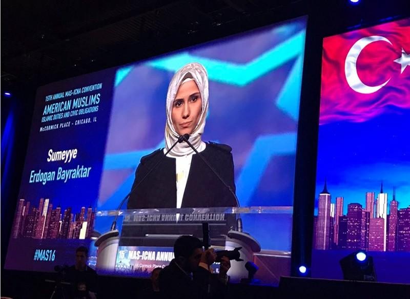President Recep Tayyip Erdou011fan's daughter, the Vice Chair of the Women and Democracy Association (KADEM) Su00fcmeyye Erdou011fan Bayraktar speaks in the 15th Annual MAS-ICNA Convention, Chicago, Dec. 26, 2016.