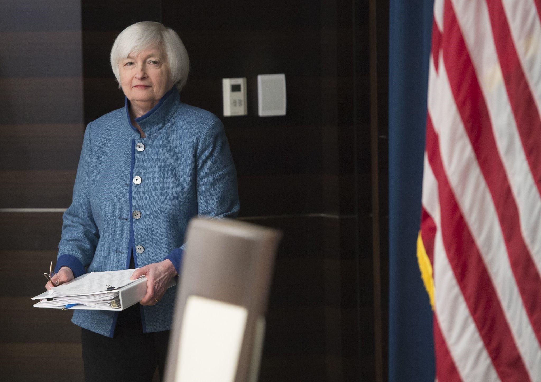 Federal Reserve Chair Janet Yellen arrives to speak during a press conference following the announcement that the Fed will raise interest rates. (AFP Photo)