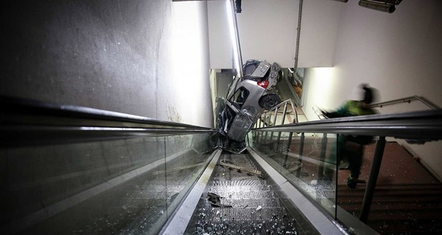 Car lands on metro escalators after accident in Bursa
