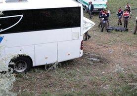 Otobüs şarampole yuvarlandı!