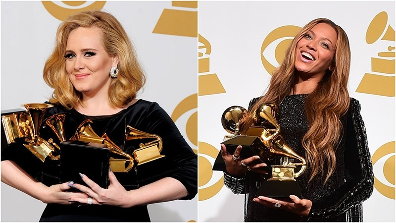 Photo combination shows Adele (L) and Beyonce at Grammy Awards. (FILE Photos)