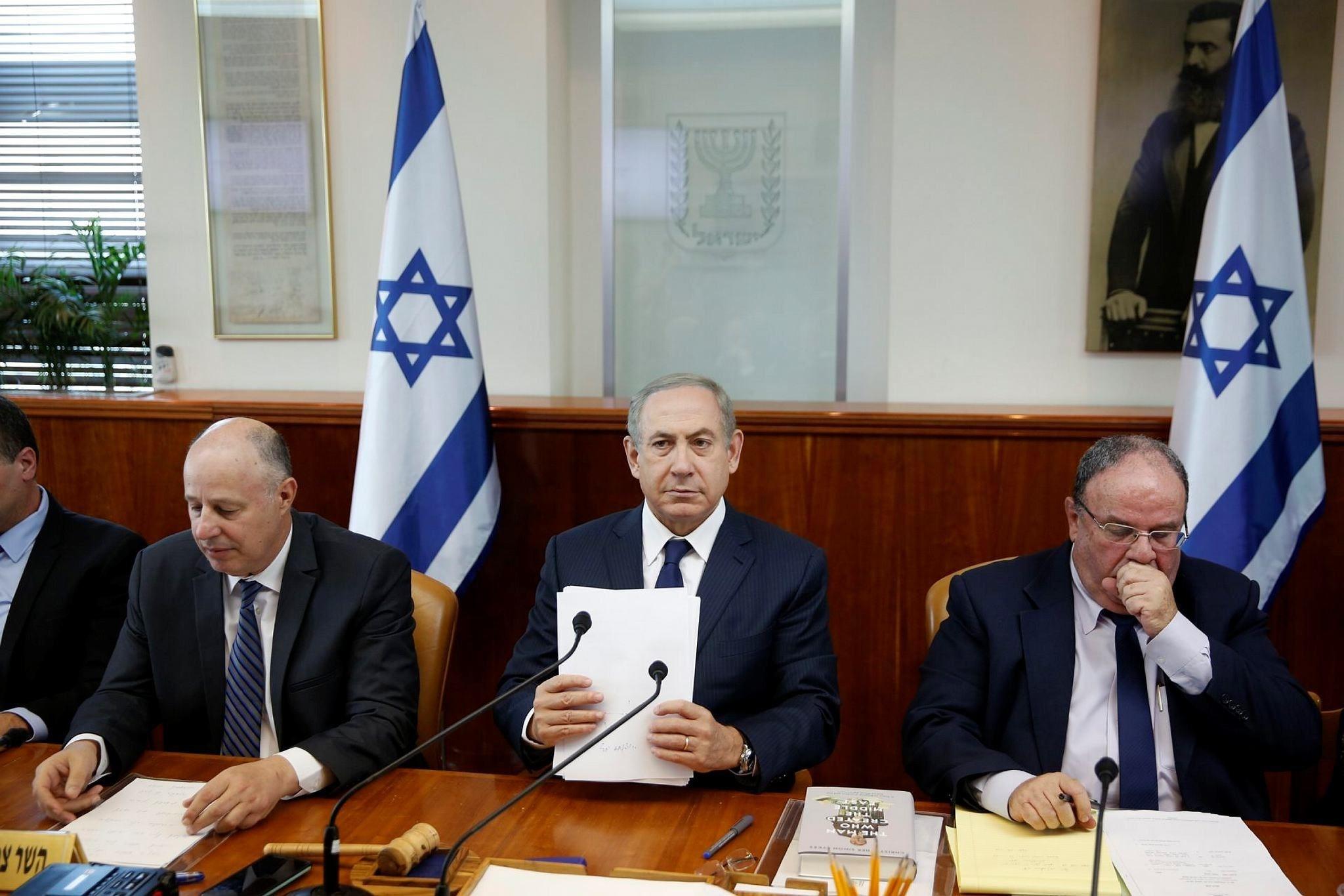 Israeli Prime Minister Benjamin Netanyahu attends the weekly cabinet meeting in Jerusalem, Nov. 13.