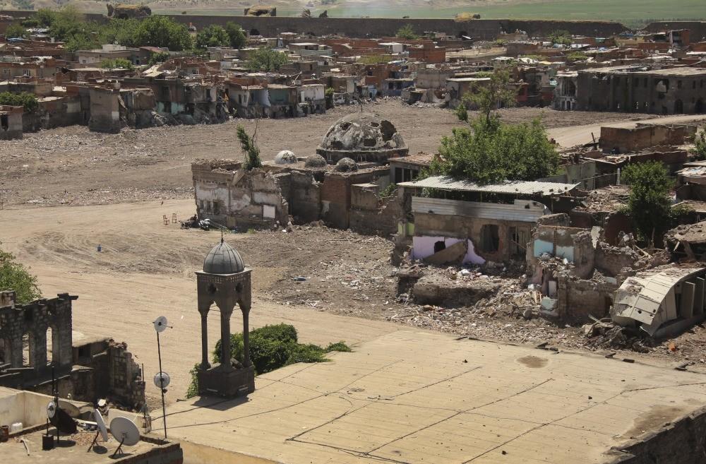Damage caused by the PKK in the predominantly Kurdish southeastern city of Diyarbaku0131r on May 22, 2016.